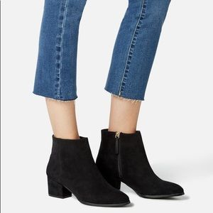 Black Faux Suede Just Fab Ankle Booties